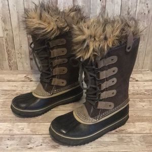 Sorel Joan of Arc lace up fur boots